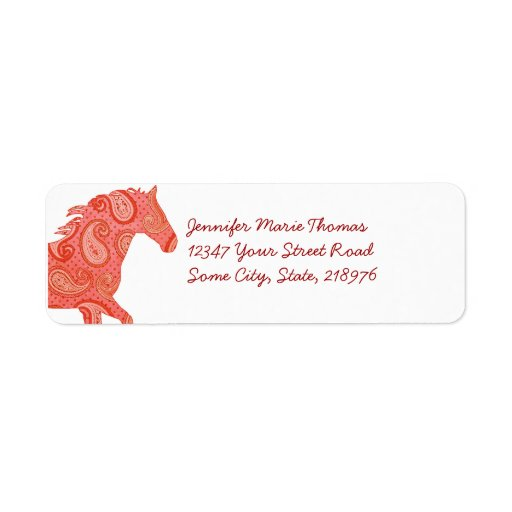 Red Paisley Horse Return Address Label