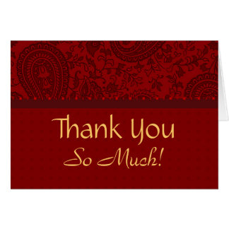 Red paisley muslim wedding Thank you Card