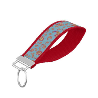 Red Paisley on Blue Wristband Keychain