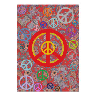 Red Paisley Peace Poster