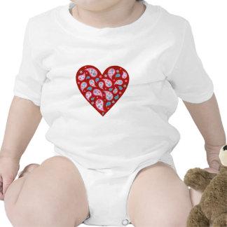 Red Paisley Pop Heart Baby Tee