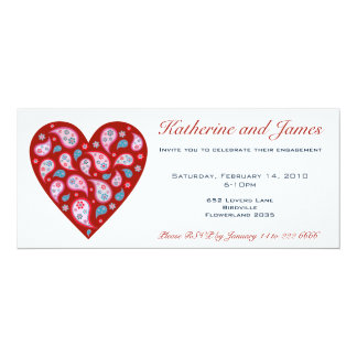 Red Paisley Pop Heart Party Invitation