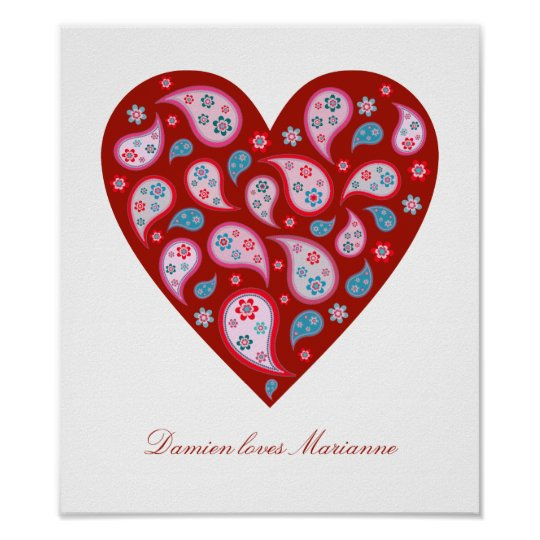 Red Paisley Pop Heart Personalised Poster