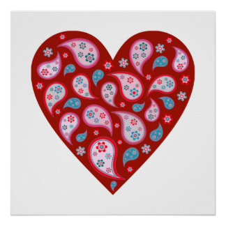 Red Paisley Pop Heart Poster