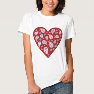 Red Paisley Pop Heart Tee