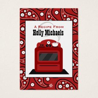 Red Paisley & Retro Stove Recipe Cards