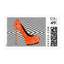 Red Paisley Stiletto Shoe On Abstract Background Postage