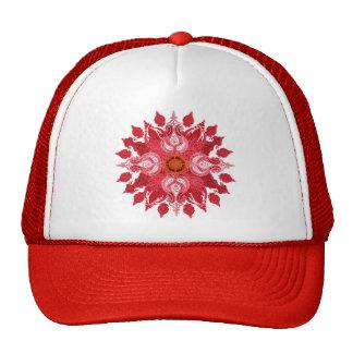 Red paisley sun mandala trucker hats