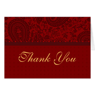 Red paisley thank you card