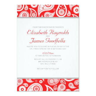 Red Paisley Wedding Invitations