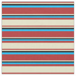 [ Thumbnail: Red, Pale Goldenrod, Black, and Deep Sky Blue Fabric ]