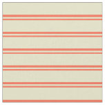 [ Thumbnail: Red & Pale Goldenrod Pattern of Stripes Fabric ]
