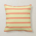 [ Thumbnail: Red & Pale Goldenrod Pattern of Stripes Pillow ]