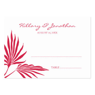 Red palm leaf wedding escort seating place card large business cards (Pack of 100)