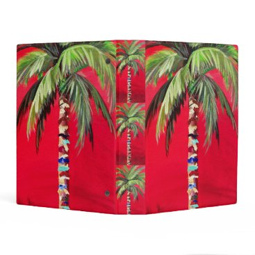 Beach Themed Red Palm Tree binder