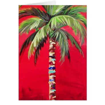 Beach Themed Red Palm Tree Card