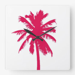 Red palm tree design, clock