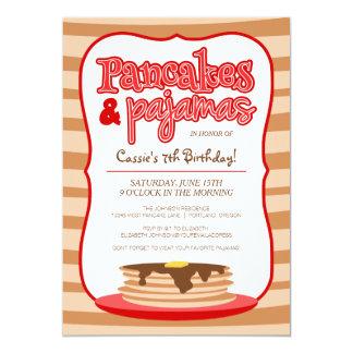 Red Pancakes and Pajamas Birthday Party 5x7 Paper Invitation Card