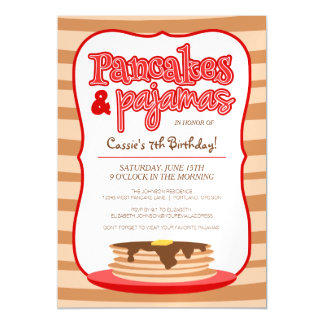 Red Pancakes and Pajamas Birthday Party Magnetic Card