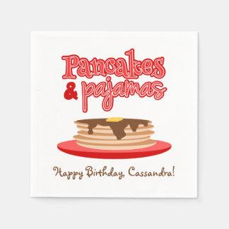 Red Pancakes and Pajamas Birthday Party Napkin