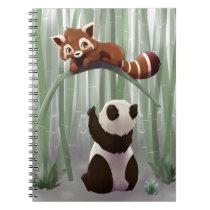 Red panda and panda bear cub notebook