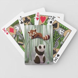 Red panda and panda bear cub bicycle card decks