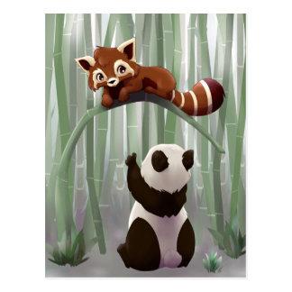 Red panda and panda bear cub postcard
