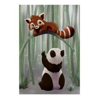 Red panda and panda bear cub poster