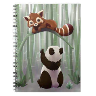 Red panda and panda bear cub spiral notebook