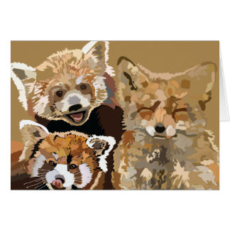 Red Panda and Red Fox, friends forever Card
