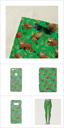 Red Panda & Bamboo Leaves Pattern