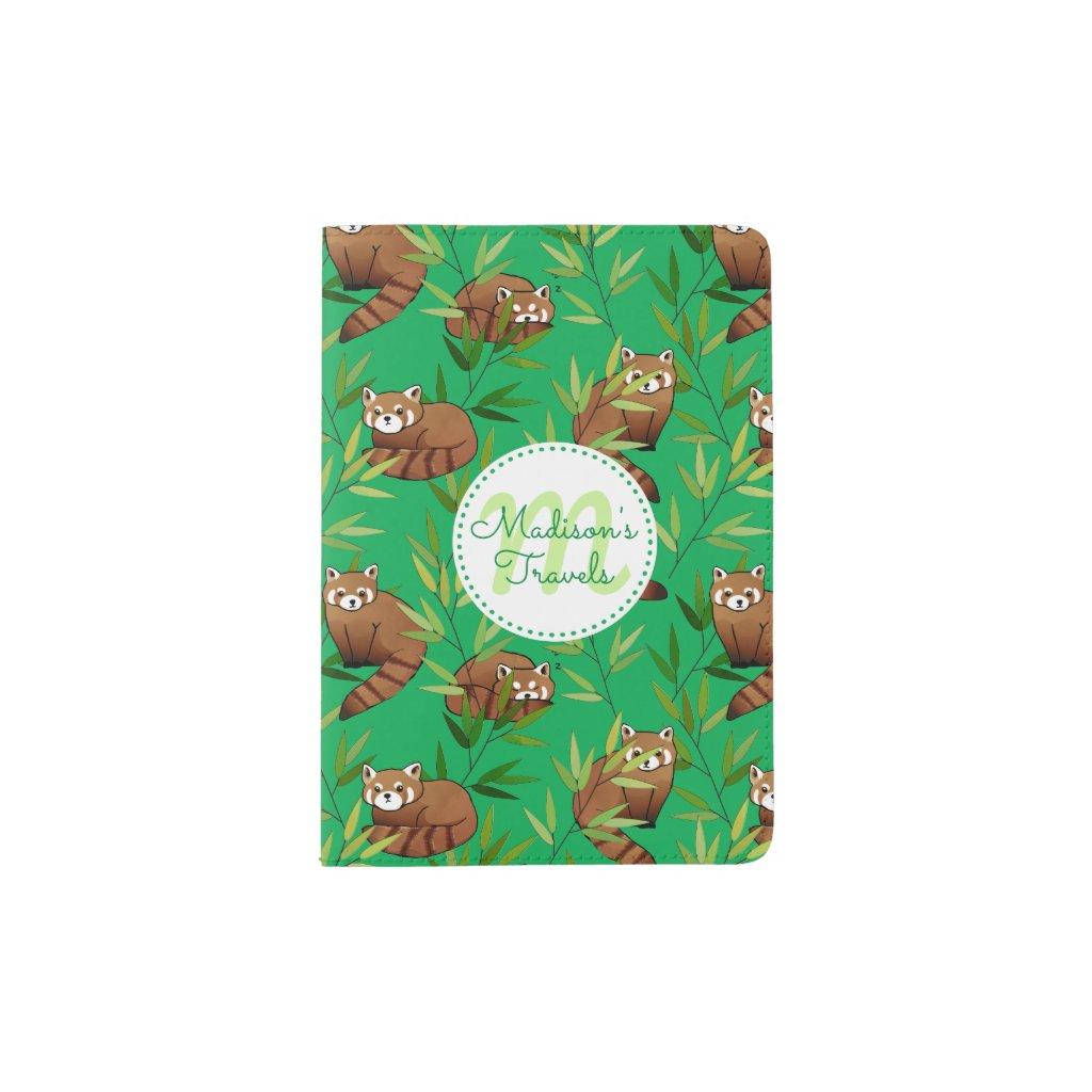 Red Panda & Bamboo Leaves Pattern & Monogram Passport Holder