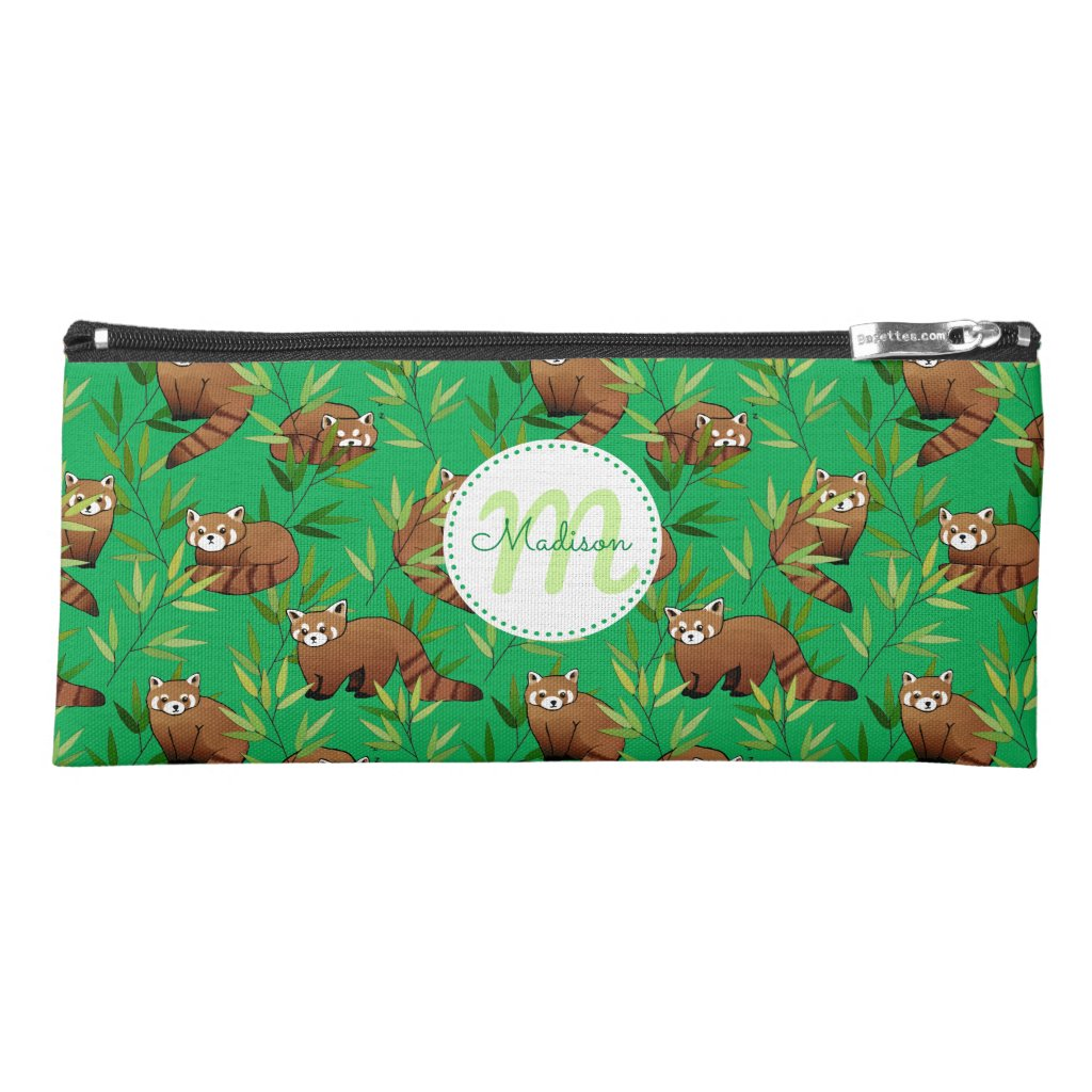 Red Panda & Bamboo Leaves Pattern & Monogram Pencil Case