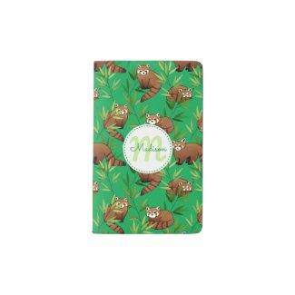 Red Panda & Bamboo Leaves Pattern & Monogram Pocket Moleskine Notebook