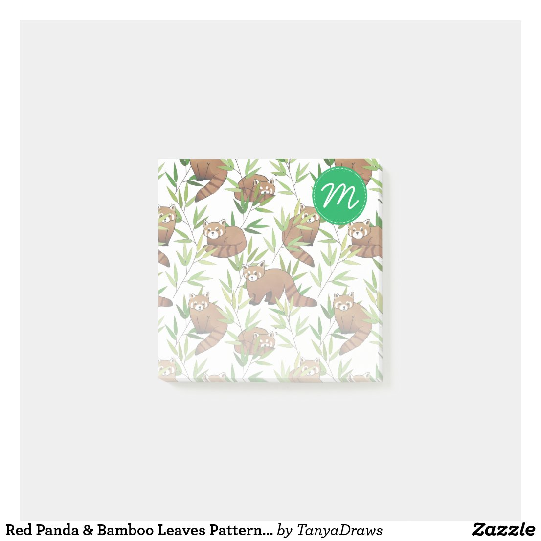 Red Panda & Bamboo Leaves Pattern & Monogram Post-it Notes