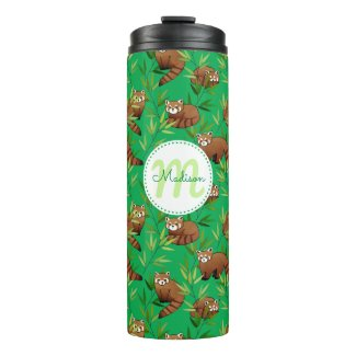Red Panda & Bamboo Leaves Pattern & Monogram Thermal Tumbler