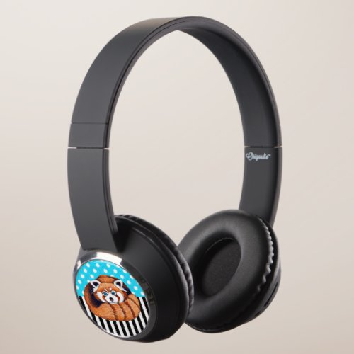 Red panda bear blue polka dot headphones