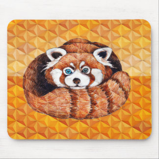Red Panda Bear On Orange Cubism Mouse Pad