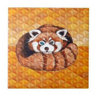 Red Panda Bear On Orange Cubism Tile