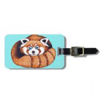 Red Panda bear on turquoise Luggage Tag