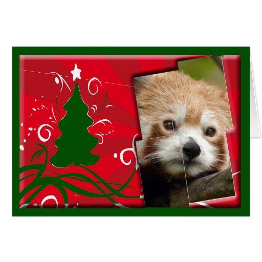 Red Panda Christmas Greeting Card