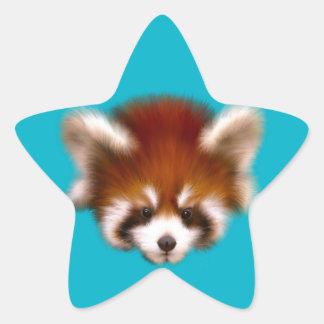 Red Panda Design Star Sticker