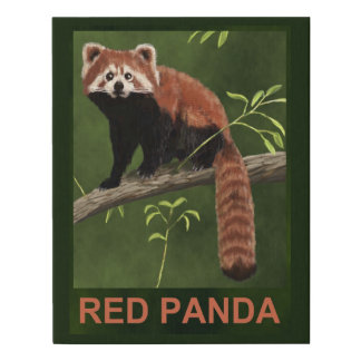 Red Panda Faux Canvas Print