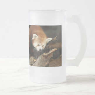 Red Panda Frosted Glass Beer Mug