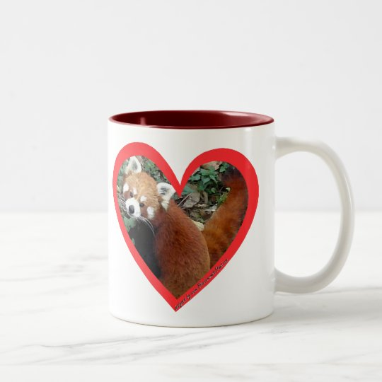 Red Panda Heart Two-Tone Coffee Mug