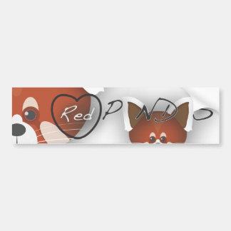 Red Panda Love Car Bumper Sticker