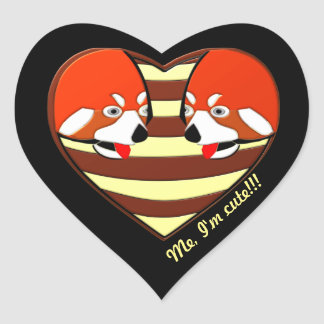Red Panda Love heart Heart Sticker