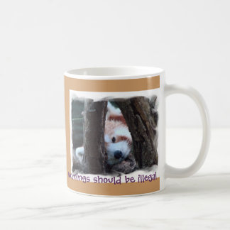 "Red Panda Mug -  ""Mornings Should Be Illegal"""