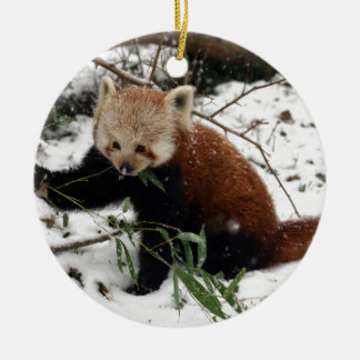 Red panda Double-Sided ceramic round christmas ornament