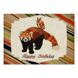 Red Panda & Owl Birthday Card